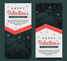 Fondo de banner de saludo de feliz día de San Valentín encantador con corazones oscuros vector