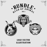 Set of animal head illustrations vector