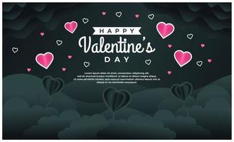 plantilla de banner de feliz día de san valentín con fondo oscuro vector