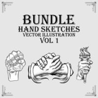 Set of hand sketch illustrations vector
