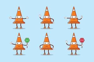 conjunto de personaje de cono de tráfico de dibujos animados vector
