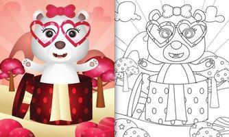 libro para colorear para niños con un lindo oso polar en la caja de regalo para el día de san valentín