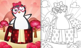 libro para colorear para niños con un lindo pingüino en la caja de regalo para el día de san valentín