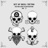 Set of skull tattoo vector logo illustrations