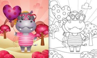 libro para colorear para niños con un lindo hipopótamo sosteniendo un globo para el día de san valentín vector