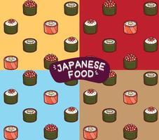 comida japonesa sushi de patrones sin fisuras vector