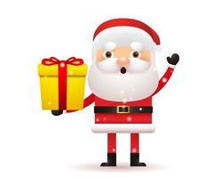 Christmas and Happy New Year. Cute Santa claus holding gift box vector