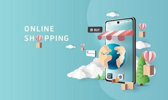 Paper art shopping online on smartphone and sale promotion backgroud banner vector