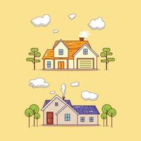Set of two modern house buildings illustration vector