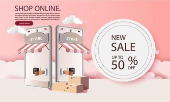 Paper art shopping online on smartphone sale promotion backgroud banner for market ecommerce. vector