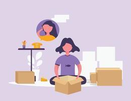 los vendedores en línea están empacando artículos al por mayor. hay muchas casillas a su lado. trabajar desde casa personaje vector ilustración estilo plano