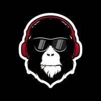 Monkey with headphones and sunglasses mascot vector