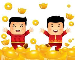 Chinese New Year. Cute little kids and a lot of gold ingots vector