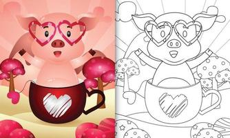 libro para colorear para niños con un lindo cerdo en la taza para el día de san valentín vector