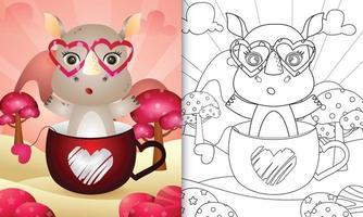 libro para colorear para niños con un lindo rinoceronte en la taza para el día de san valentín vector