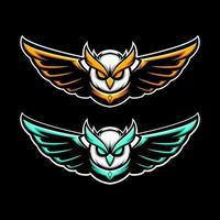 Flying owl mascot vector