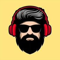 Bearded man with headphones and sunglasses mascot vector