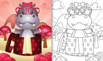 libro para colorear para niños con un lindo hipopótamo en la caja de regalo para el día de san valentín vector