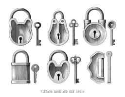 Vintage lock and key collection hand drawn engraving style black and white art isolated on white background