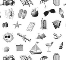 Travel icons pattern hand drawing vintage style isolated on white background vector