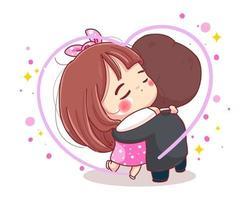 Carácter de abrazo de pareja romántica para el concepto de feliz día de San Valentín aislado sobre fondo blanco. vector