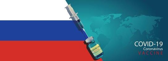 RUSSIAN scientist team discovered the COVID-19 vaccine concept. Vaccine development ready for treatment illustration, vector flat design