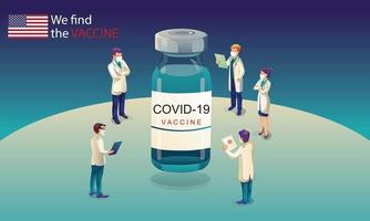 El equipo científico estadounidense ha descubierto la vacuna covid-19, una prueba de laboratorio, una jeringa y un frasco de vacuna, trabajando en la prueba. desarrollo de vacunas listo para la ilustración de tratamiento, diseño plano vectorial