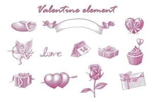 Valentine element hand draw vintage engraving style art isolated on white background vector