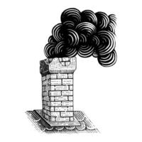 Vintage Chimney hand drawing engraving illustration black and white art isolated on white background vector