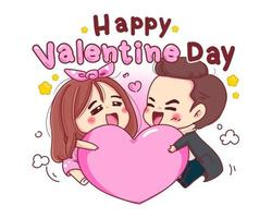 Character of lovers playing with pink heart for romantic valentine day isolated on white background. vector