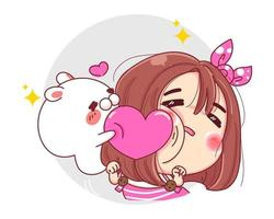 Character of funny girl and white rabbit playing with pink heart isolated on white background. vector