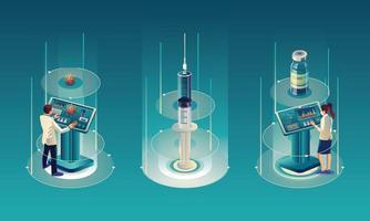 El equipo médico y el científico han descubierto la vacuna covid-19, una prueba de laboratorio, una jeringa, un vial de vacuna, trabajando en la prueba. desarrollo de vacunas listo para la ilustración de tratamiento, diseño plano vectorial