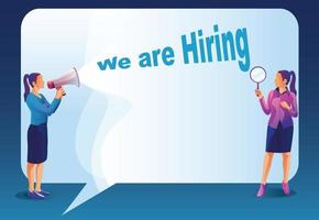 We are Hiring Concept with Huge Loudspeaker and Business People. Recruitment Agency Interview with Candidates. Human Resources with Megaphone. Join together in team work dream team Vector illustration