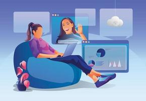 Businesswomen uses Video conference. People on window screen talking with colleagues. Videoconferencing and online meeting workspace page, men and women learning. Vector illustration, Flat