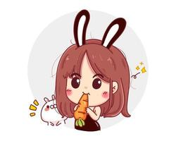 Character of cute girl wearing black rabbit uniform isolated on white background. vector