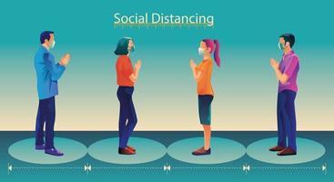 distanciamiento social, las personas mantienen la distancia y evitan el contacto físico, el apretón de manos o el toque de la mano para protegerse del concepto de propagación del coronavirus covid-19, la gente está usando el saludo tailandés de sawasdee vector