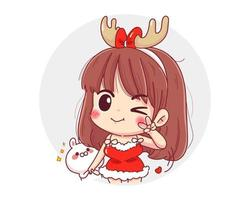 Character of cute girl wearing red reindeer christmas outfit isolated on white background. vector