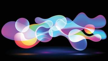 An abstract image of a balloon with colorful, rounded shapes floating above the ground. vector