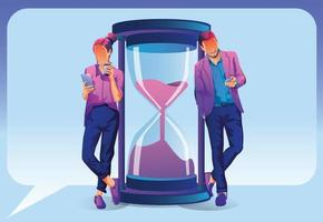 empresarios y empresarias con teléfonos inteligentes trabajando en línea alrededor del reloj de arena. conceptos de gestión de tiempo, negocios online, marketing digital, multitarea, rendimiento, plazo. ilustración vectorial vector
