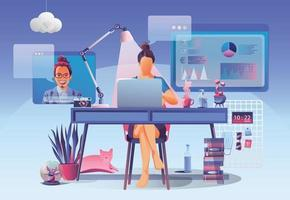 Businesswomen using Video conference. Working People on window screen talking with colleagues. Videoconferencing and online meeting workspace page, man and woman learning Vector illustration, Flat