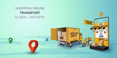 Digital Online Shop Global logistic Truck Van Scooter Delivery on mobile phone website background concept vector