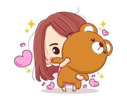 Personaje de linda chica abrazando oso de peluche muñeca feliz regalo de San Valentín aislado sobre fondo blanco. vector