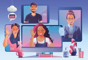 People use Video conference. People on window screen talking with colleagues. Videoconferencing and online meeting workspace page, man and woman learning. Vector illustration, Flat