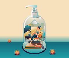 Staying at Home, Quarantine concept. Coronavirus, COVID-19. People in house in shape of gel alcohol bottle on green background with many viruses around. Vector Flat Design