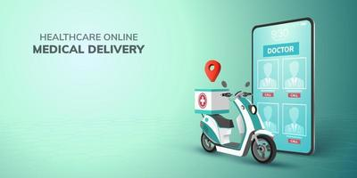 Digital Online healthcare transport Doctor Delivery on Scooter with mobile phone website background concept for emergency health medical vector