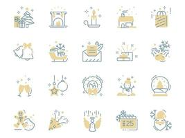 Christmas thin line icons, winter vector