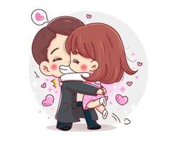 Personaje de pareja romántica abrazándose por concepto de feliz día de San Valentín aislado sobre fondo blanco. vector