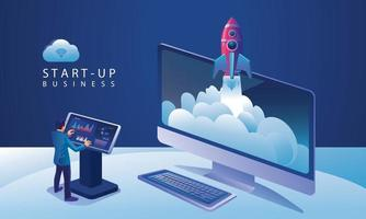 Business Startup launching product with rocket concept. Template and Backgrounds Vector illustration, business project startup process idea through planning and strategy, time management