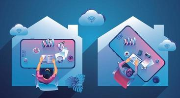 Work from home concept. Top view freelancers working on devices. People at home doing remote work vector illustration