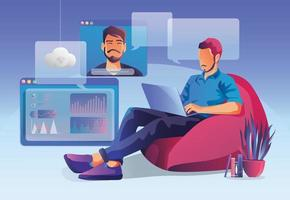 Business people use Video conference. People on window screen talking with colleagues. Videoconferencing and online meeting workspace page, men and women learning. Vector illustration, Flat